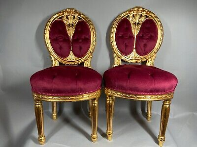 Two antique chairs in French Louis XVI style. A pair. Worldwide free shipping