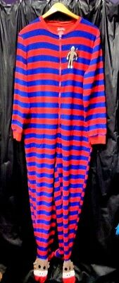 Nick and Nora 3D Sock Monkey Footie Pajamas size Small Striped Red Blue