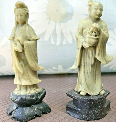 A pair of vintage hand carved Chinese soapstone figurines