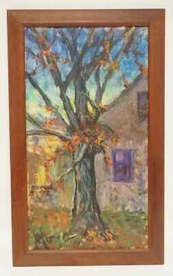 JULIUS KAHN OIL PAINTING ON CANVAS OF A TREE BY A HOUSE Signed & Dated 1965