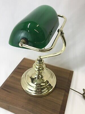 Vtg Art Deco Bankers Desk Lamp Green Cased Glass Shade Brass Mid Century Modern