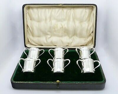 Rare Set 6 Edwardian Cased Novelty Solid Silver Miniature Tyg Shot Cups Hm 1907