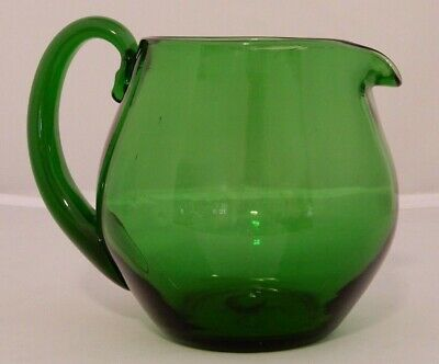 Vintage Hand Blown Forest Green Glass Pitcher with Applied Handle