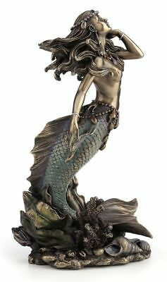 Mermaid Rising From Sea Bronze Color Statue Sculpture *UNIQUE FATHERS DAY GIFT