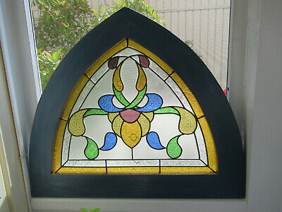 Antique Stained Glass Arch Church Window Amazing Colorful Patterned Glass