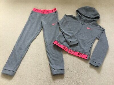 Girls Nike Grey And Pink Slim Fit Tracksuit, Ex Condition, Age 10-12/ Medium