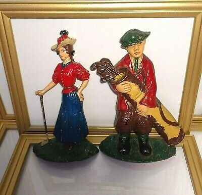 Antique Cast Iron Novelty Golfer Doorstops Gifts for Golfers Height 22 cm