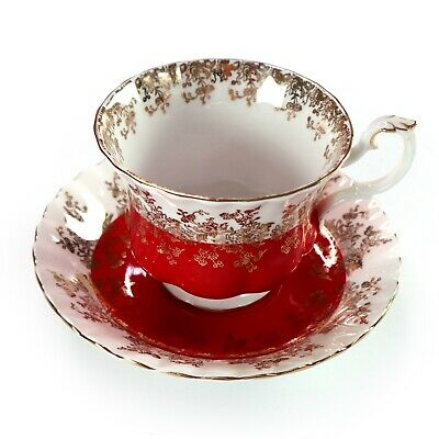 Royal Albert Fine Bone China Cup and Saucer Red Regal Series England
