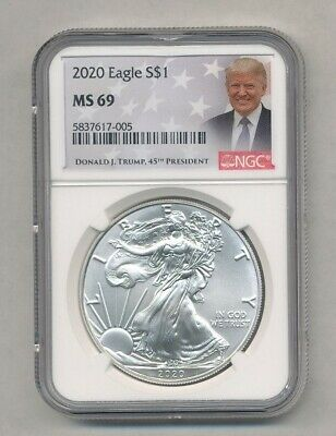 2020 American Silver Eagle NGC MS 69 Trump Label Exact Coin Shown