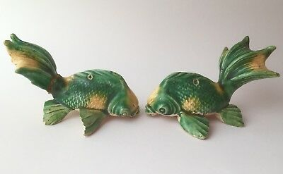 Vintage Chinese Pair Of Green Yellow Fish Mudmen Ornaments Miniature Statues