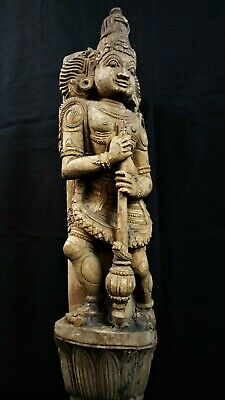 19th C. ANTIQUE HAND CARVED WOODEN HINDU CHARIOT CARVING FROM INDIA