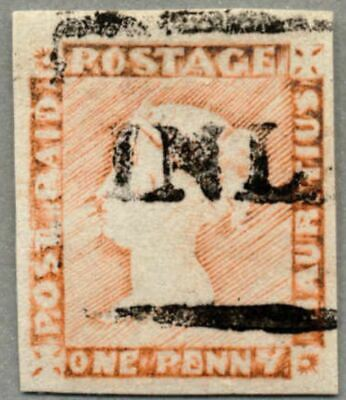 A2 Mauritius 1859, 1 d., red brown, INLAND siehe Fotos