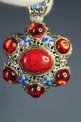Collectable Miao Silver Carving Butterfly Inlay Seven Red Beads Noble Pendant