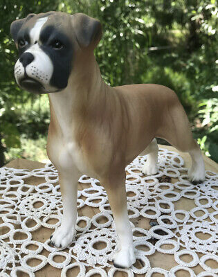"""Vintage Male BOXER DOG Collector approx. 7"""" Porcelain Bisque Figurine England"""