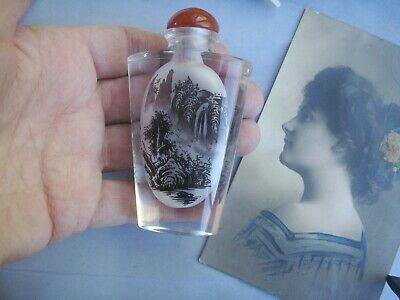 Old Vintage Chinese Glass Handpainted Miniature Interior Landscape Snuff Bottle