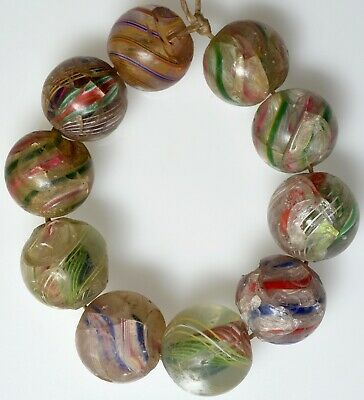 10 Antique European Marble Beads - African Trade Beads
