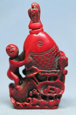 Collectable Rare Coral Carving Child & Fish Auspicious Beautiful Snuff Bottles