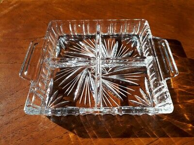 Hand-Cut Eastern European Pinwheel Crystal Four Section Serving Tray - Very Nice