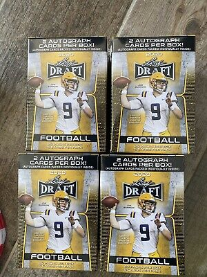 2020 LEAF DRAFT Football Factory Sealed Blaster Box 20 packs - 2 AUTOS FREE SHIP