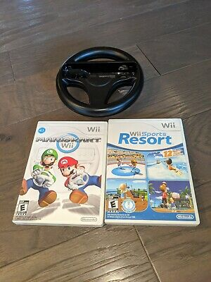 Wii Sports Resort and Mario Kart Wii with steering wheel