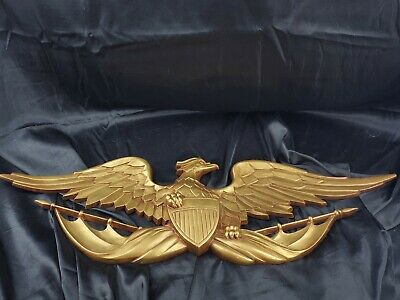 """27"""" LONG Brass look Golden Metal EAGLE WALL PLAQUE BY SEXTON its  U.S.A MADE"""