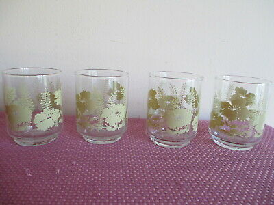 Vtg Libbey Petite Juice Glasses, Set Of 4, Soft Yellow Gold Flowers & Ferns