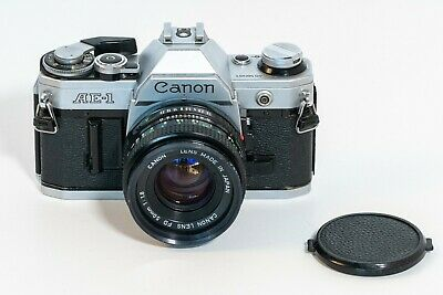 [EXC+] Canon AE-1 Silver 35mm SLR Film Camera + FD 50mm F/1.8 Lens from Japan