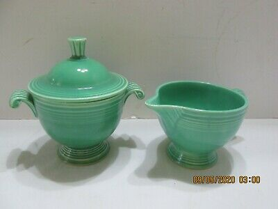 Vintage Fiesta Green Ring Handled Creamer/Sugar with Lid