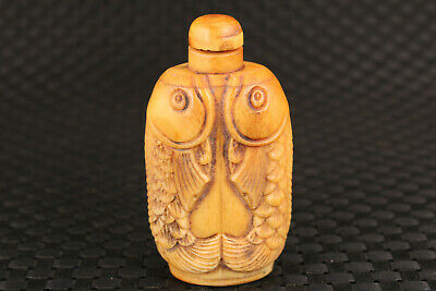 unique chinese old deer horn hand carved fish statue snuff bottle