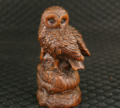 Rare chinese boxwood hand carved owl figure statue netsuke good stand