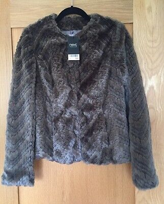 Brand New Next Ladies Brown Fluffy Cropped Jacket /Coat Size 10