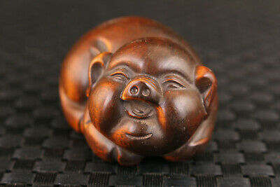 Lovely Chinese old boxwood hand carved pig statue netsuke collectable
