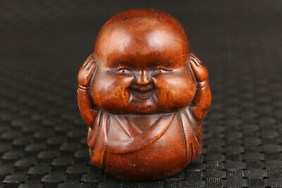 Fortune Rare chinese old boxwood buddha monk statue Hand piece noble gift