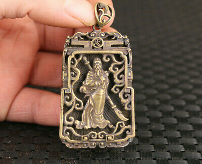 Chinese old bronze hand cast guan gong statue fengshui amulet pendant necklace