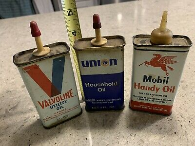 Mobil, Union 76, & Valvoline Oil Tins - Lot of 3