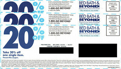 """Lot of 10 Bed Bath & Beyond Coupons: 20% Off One Item In Store, All """"Expired"""""""