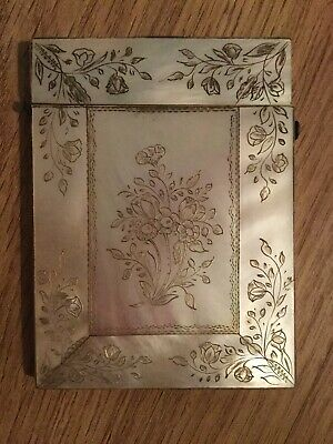 Antique  Calling Card Case Mother Of Pearl & Abalone. With Beautiful Decoration