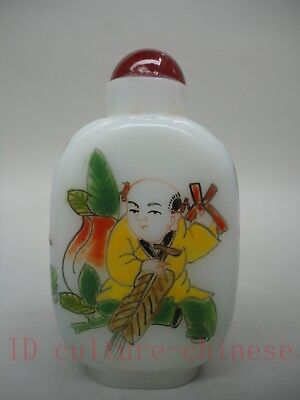 Collected Ancient China Glass Manual Painting Lovely Boy Play Snuff Bottles Gift