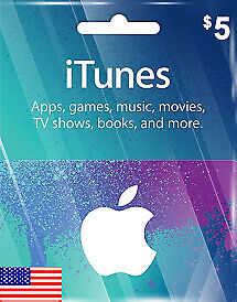 Apple iTunes Gift Card - $5 (USD) - American USA  - Instant Delivery