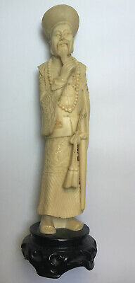 Chinese Hand Carved Resin Man Figure Ornament ,signed, 13""