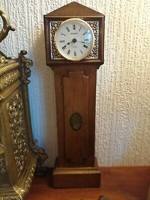 Antique Miniature Grandfather Clock, wooden cased, pocket watch stand Standish.