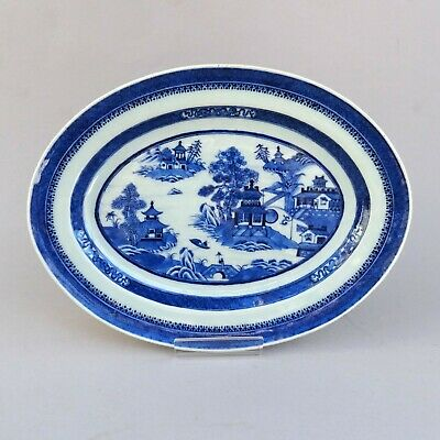 Antique Chinese Blue & White Oval Plate ~ Canton Export Porcelain
