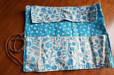 Hand-printed Organic Cotton - Blue & White Pencil Roll/Brush/Toiletries case