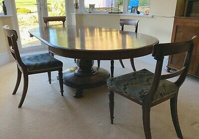 Antique Georgian Round / Oval Pedestal Dining Room Table and Chairs, seats 4-10