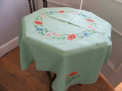 Vintage Vibrant Green Linen Tablecloth with Colourful Floral Hand - Embroidery