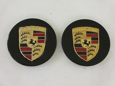 Porsche 911 928 944 - METAL Wheel Centre Caps Colour Crest - PAIR 928.361.032.11