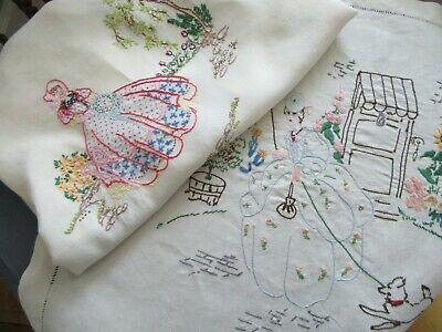 2 Vintage 'Crinoline Lady' Linens with Colourful Hand - Embroidery