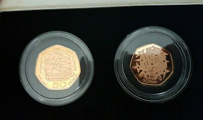 1998 and 1992 - 1993 Gold proof EEC 50p 50 p fifty pence coins