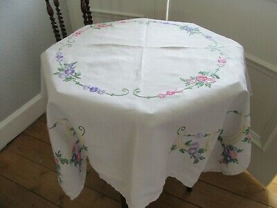 Vintage Hand-Embroidered Multi-Coloured Floral Linen Tablecloth