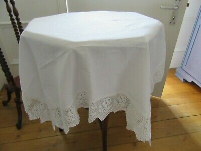 Vintage White on White Linen Tablecloth with Crocheted Floral Fringe/Edging